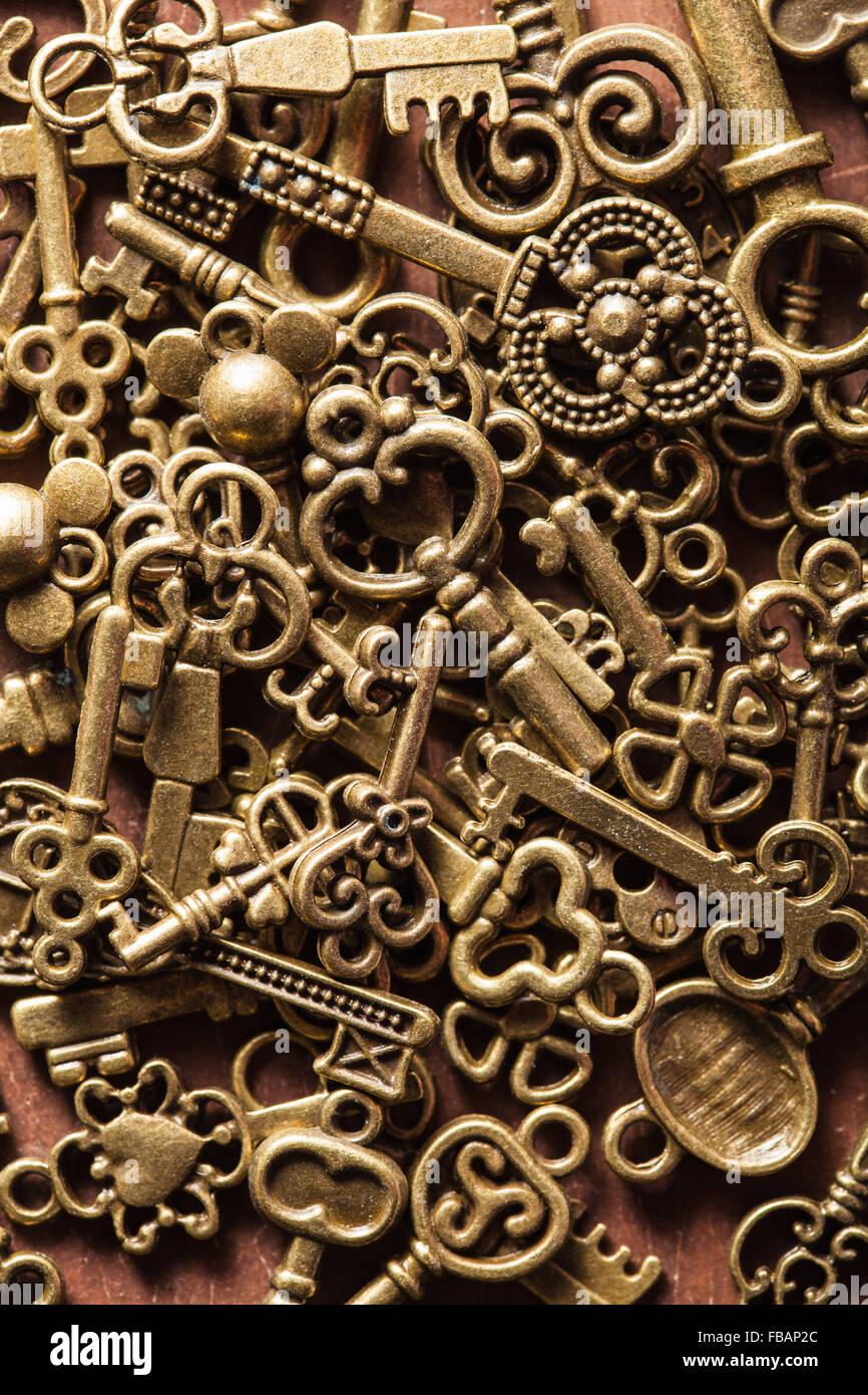 steampunk old vintage metal keys background - Stock Image