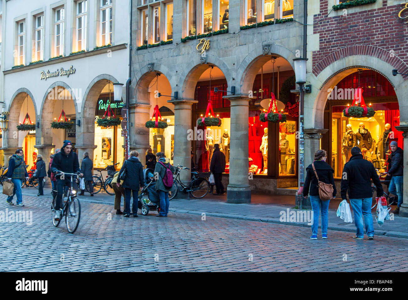 Old town city arcades in the old town, Münster, Westfalia, Germany, Christmas shopping, - Stock Image