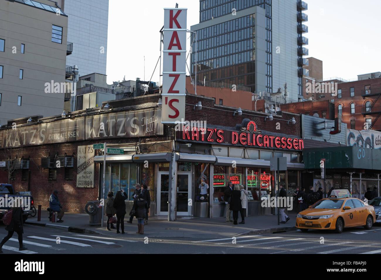 Katz's Delicatessen on Houston Street on the Lower East Side of Manhattan - Stock Image
