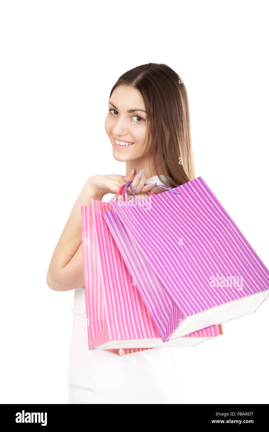 Portrait of smiling female holding colorful shopping bags, isolated on white background. Concepts: sales, rest, - Stock Image