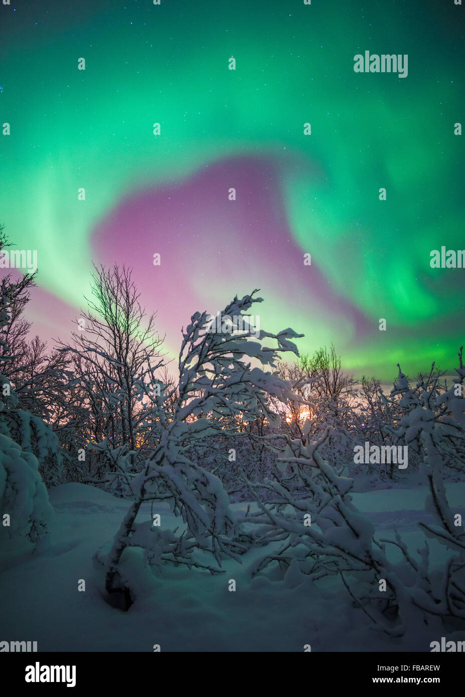Aurora Borealis over Tromso, Northern Norway - Stock Image