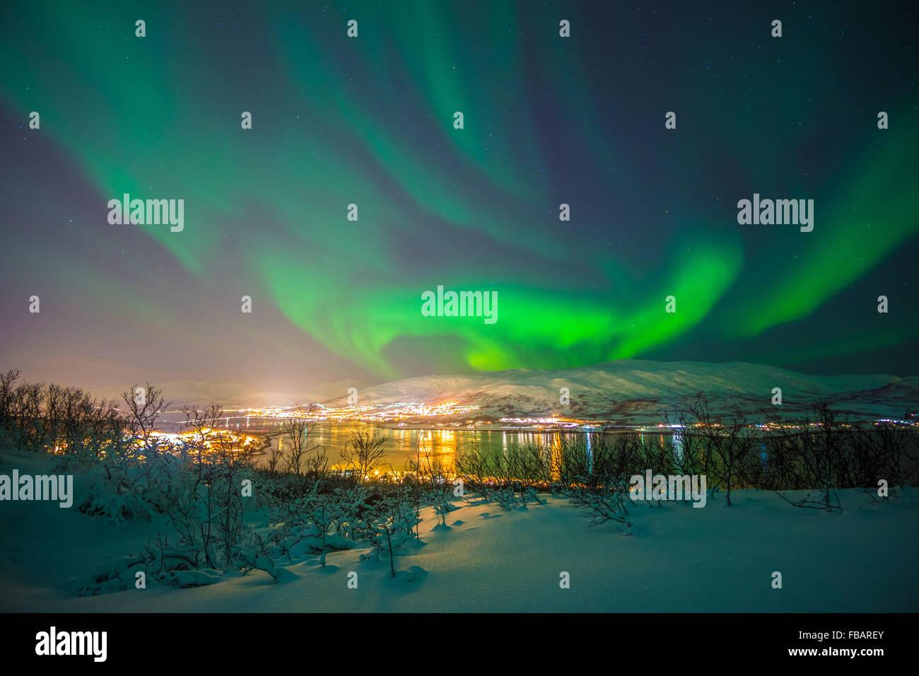 Aurora Borealis over Tromso, Northern Norway - Stock Image