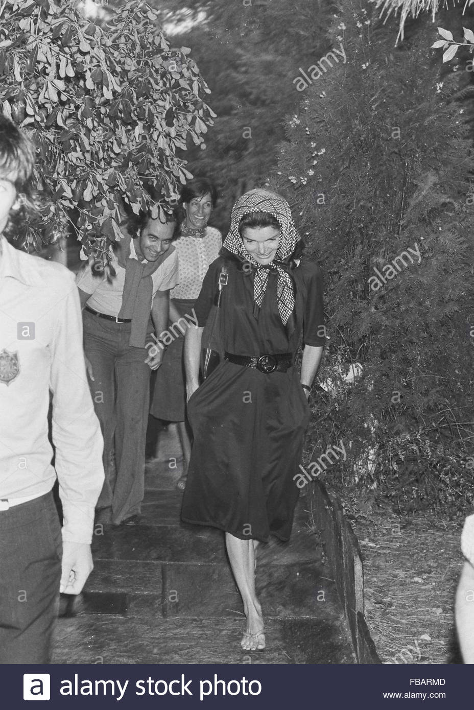 Jacqueline Onassis at the ancient Greek Theatre in Epidauras, southern Greece - 03 Aug 1975 - Stock Image