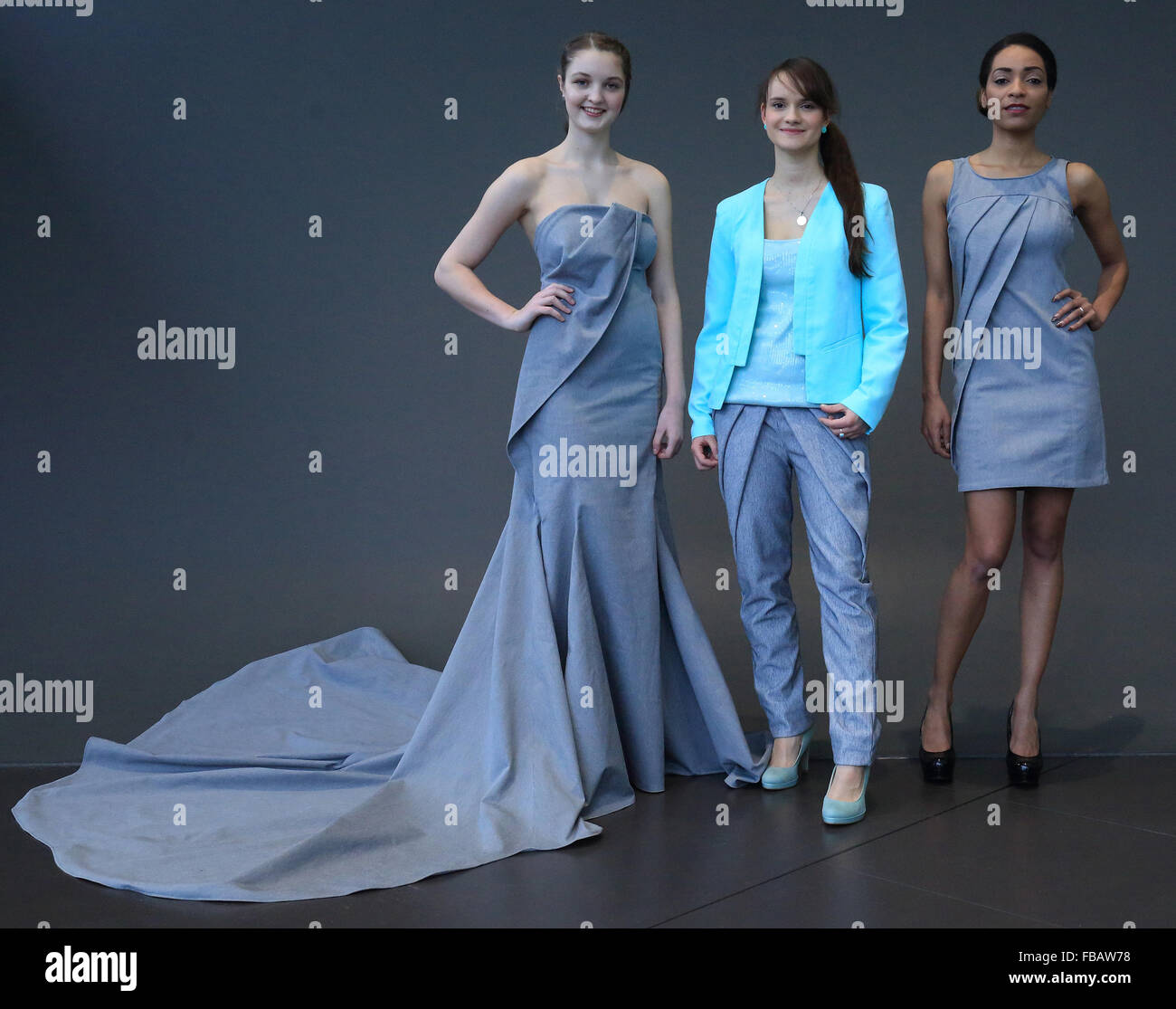 The Models Pia L And Fashion Designer Carolin Goldmann M At A Stock Photo Alamy