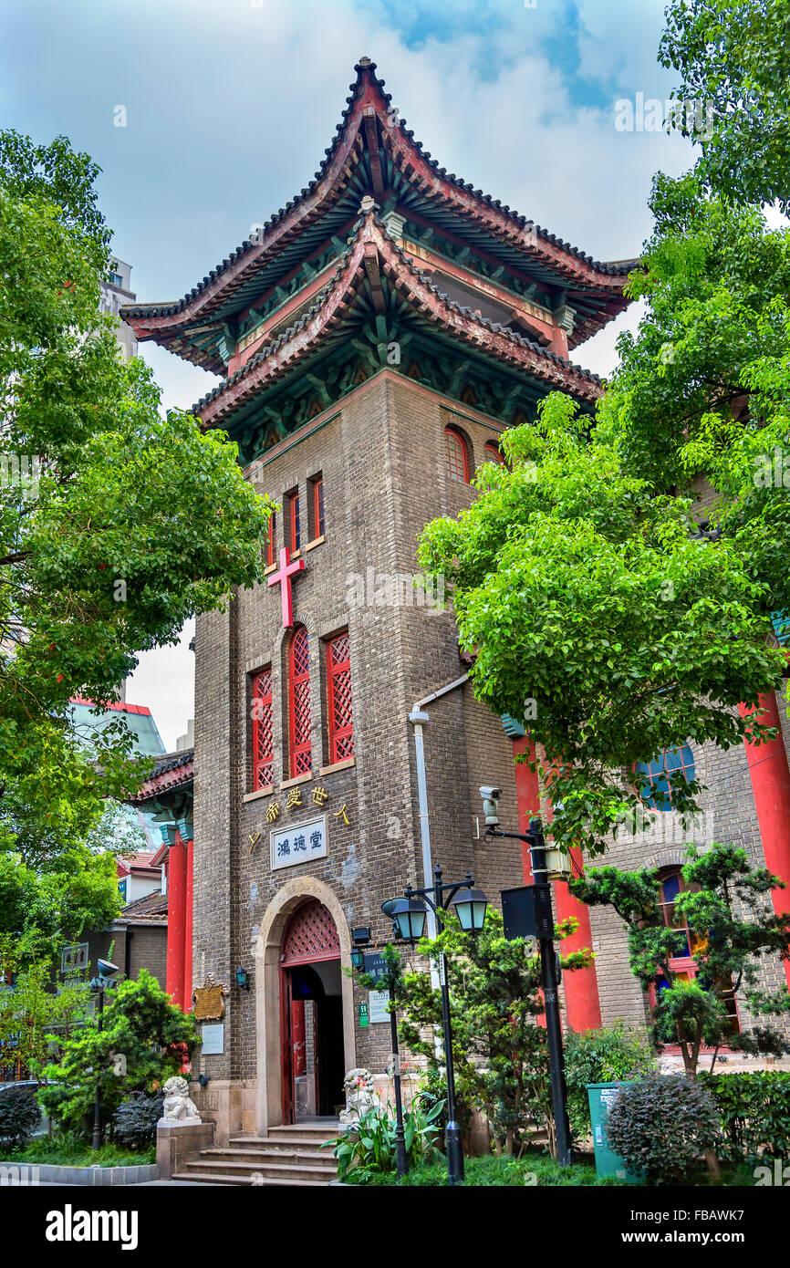 Old Hongde Tang Fitch Memorial Christian Protestant Church Duolon Cultural Road Hongkou District Shanghai China. - Stock Image