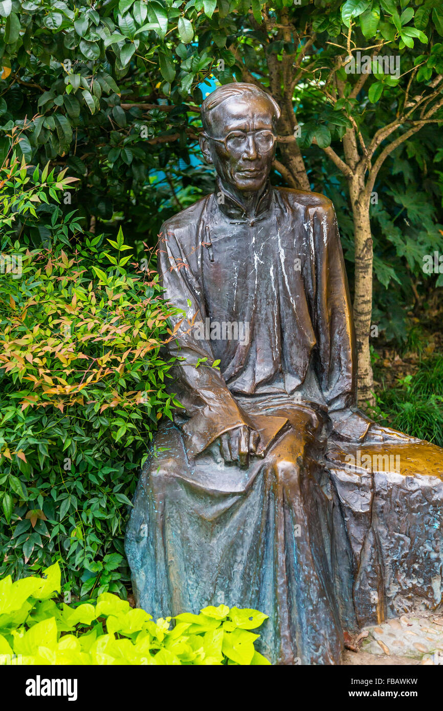 Ruo Shi Statue, Famous Chinese Writer, Statue Old Duolon Cultural Road Hongkou District Shanghai China. Old Shanghai - Stock Image
