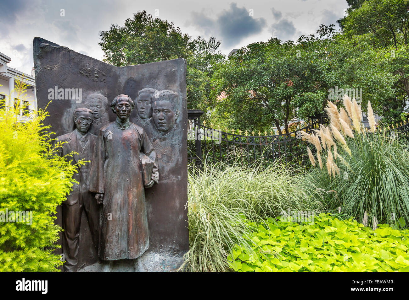 League of Leftist Writers Bronze Statue Old Duolon Cultural Road Hongkou District Shanghai China. Old Shanghai Houses - Stock Image