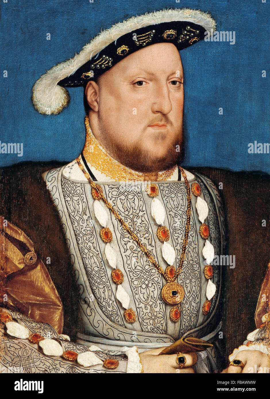 King Henry VIII, portrait by the workshop of Hans Holbein the Younger, c 1537 - Stock Image