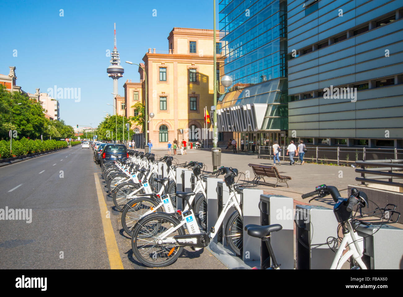 BiciMad parking in O'Donnell street. Madrid, Spain. - Stock Image