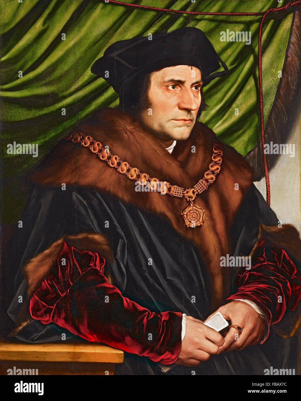 Thomas More (1478-1535). Portrait of Sir Thomas More by Hans Holbein the Younger, 1527 - Stock Image