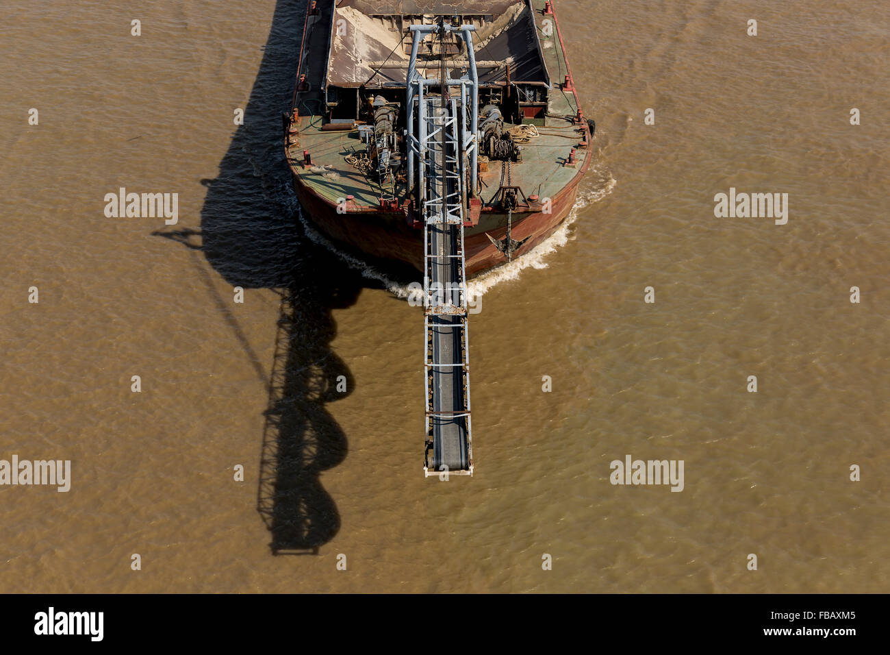 Construction Ship with a Conveyor Belt - Stock Image