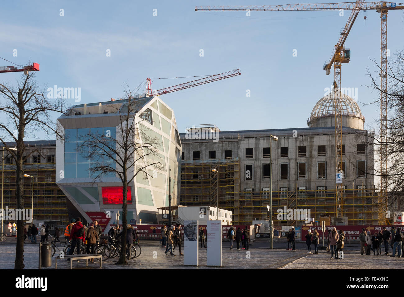 BERLIN - JANUARY 09: Reconstruction of the Berlin City Palace or 'Berliner Stadtschloss' in Berlin on January - Stock Image