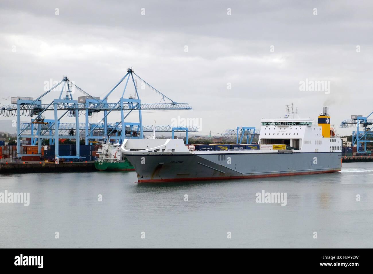 Palatine Ro-Ro cargo ship leaving Dublin Port, Ireland, on September 25th 2015. - Stock Image