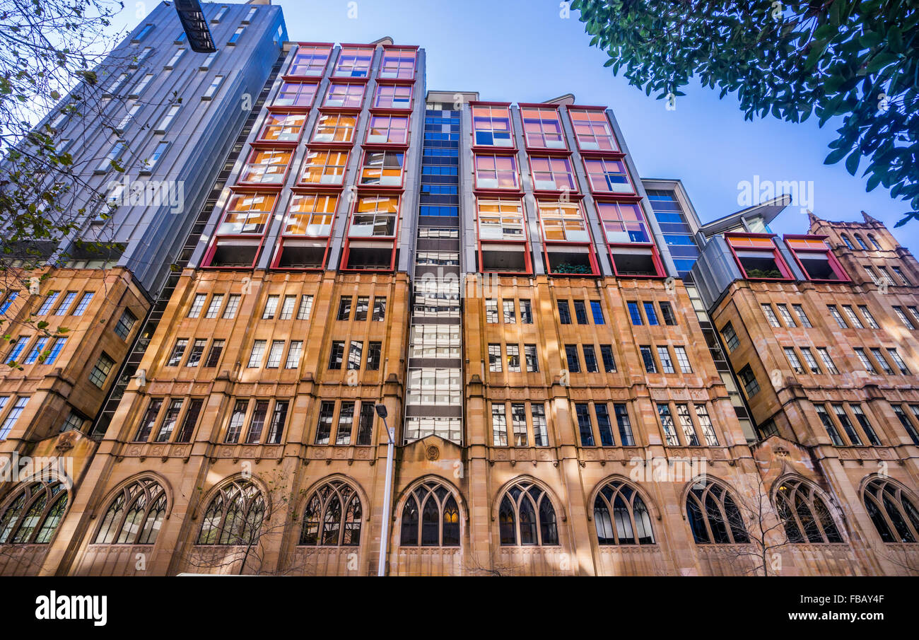 Australia, New South Wales, Sydney, Wynyard Square, Gothic style facade of Scots Church with addition of contemporary - Stock Image