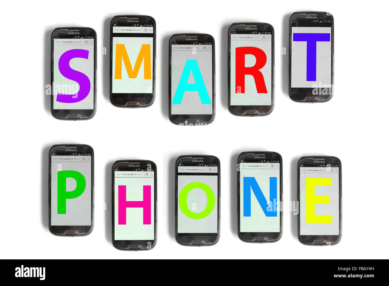 Smart Phone spelled out on mobile phone screens photographed against a white background. - Stock Image