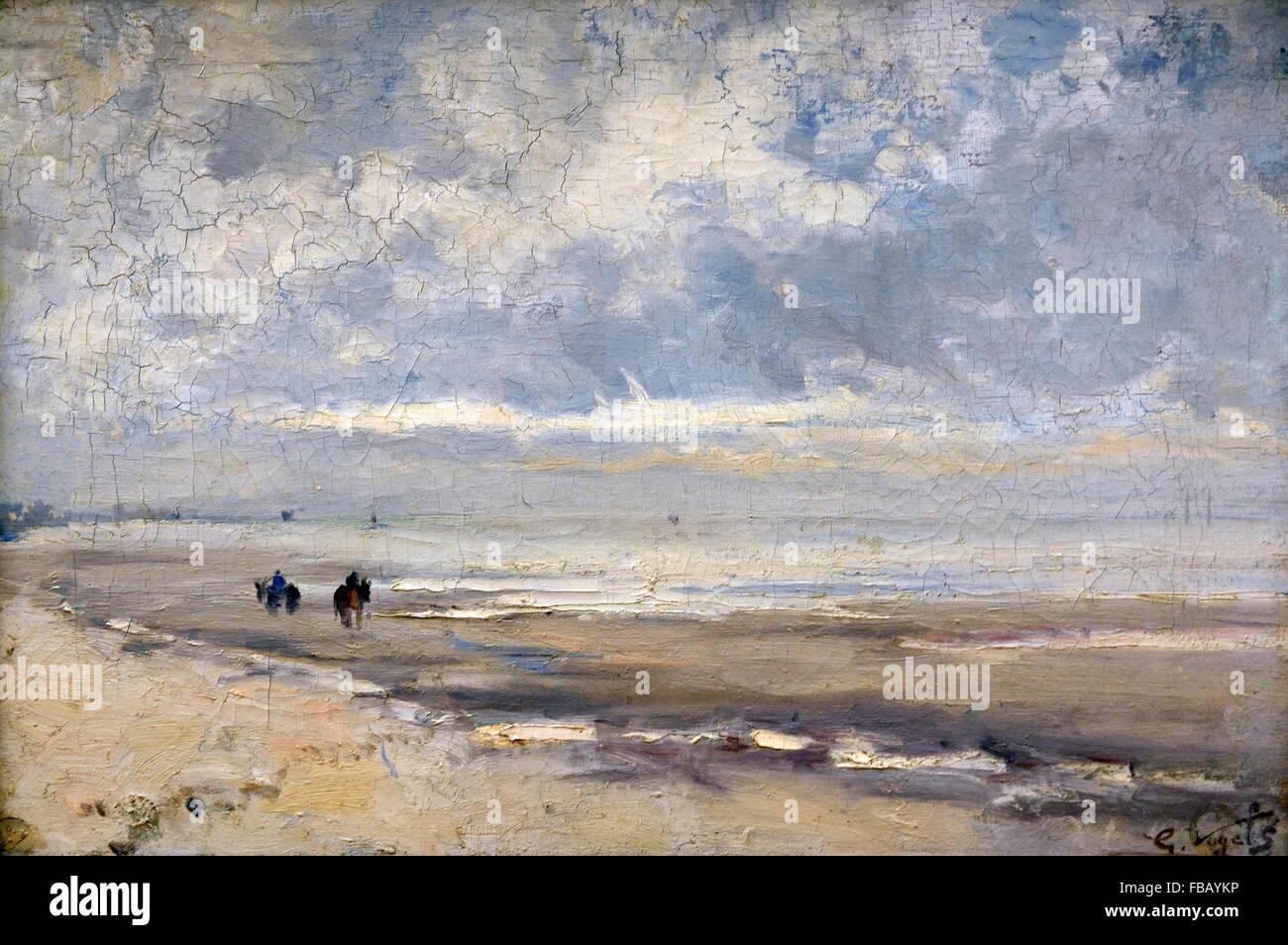 Beach View 1878 Guillaume Vogels 1836-1896  Belgian painter Belgium - Stock Image