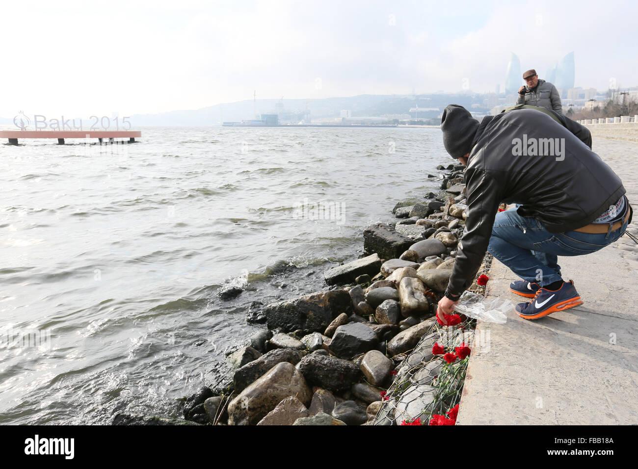 Baku, Azerbaijan  13th Jan, 2016  Young activists mark the 40th day