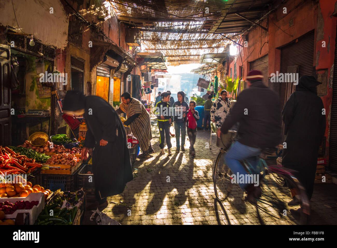 Street life Marrakech Medina - Stock Image