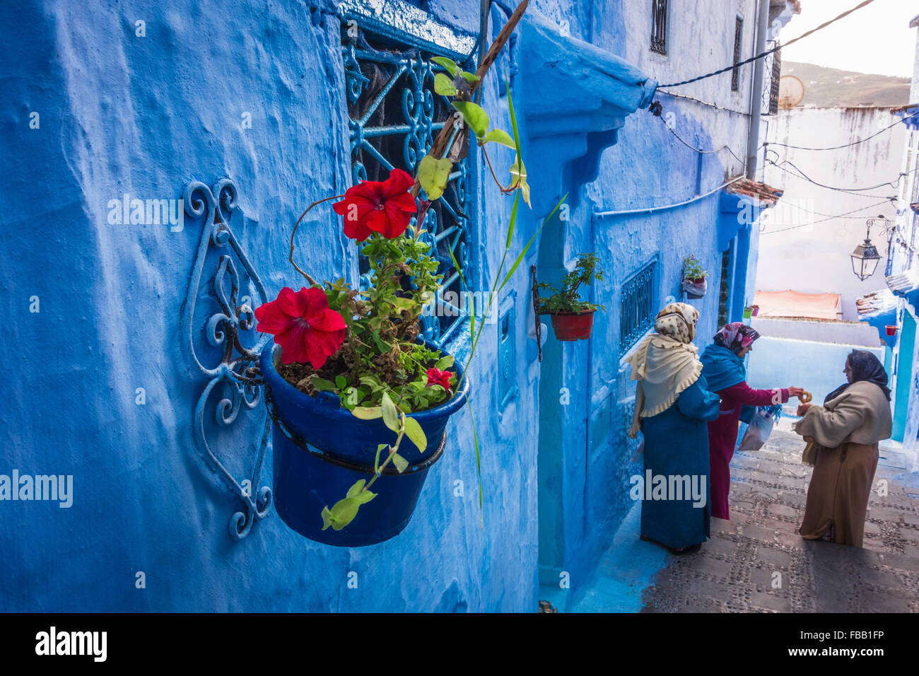 Chefchaouen flower pot - Stock Image