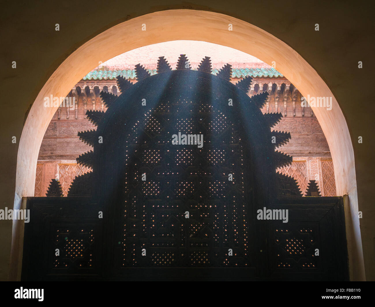 Rays of sunshine detail Medersa Ben Youssef, Marrakech Morocco - Stock Image