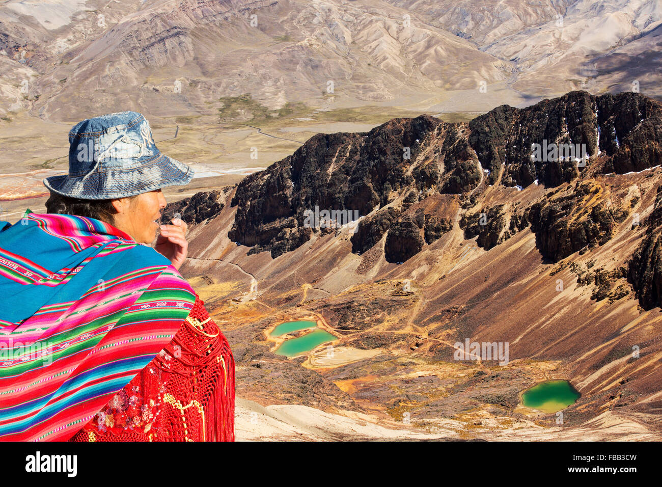 Colourful lakes below the peak of Chacaltaya in the Bolivian Andes. - Stock Image