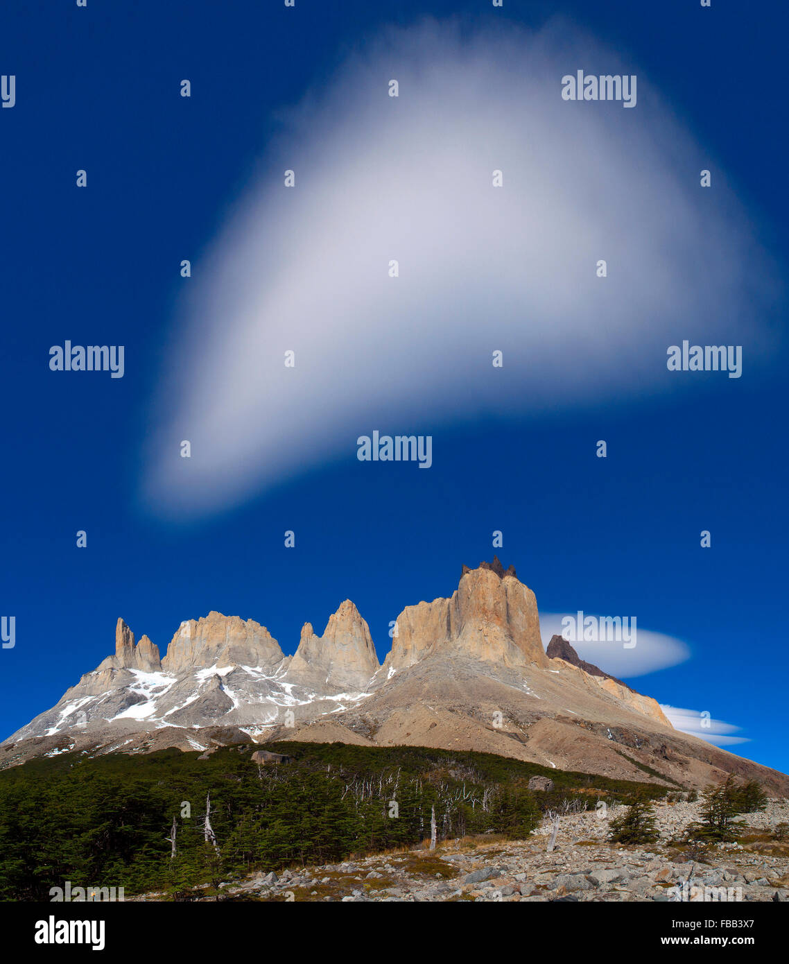 Paine Massif from head of French Valley, Torres Del Paine, Patagonia - Stock Image