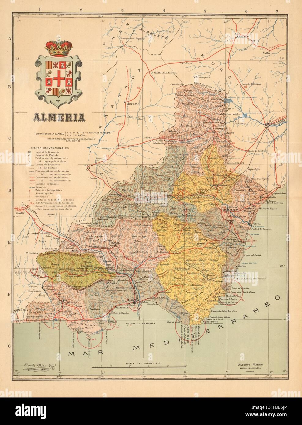 Provincia De Almeria Mapa.Almeria Almeria Andalucia Mapa Antiguo De La Provincia