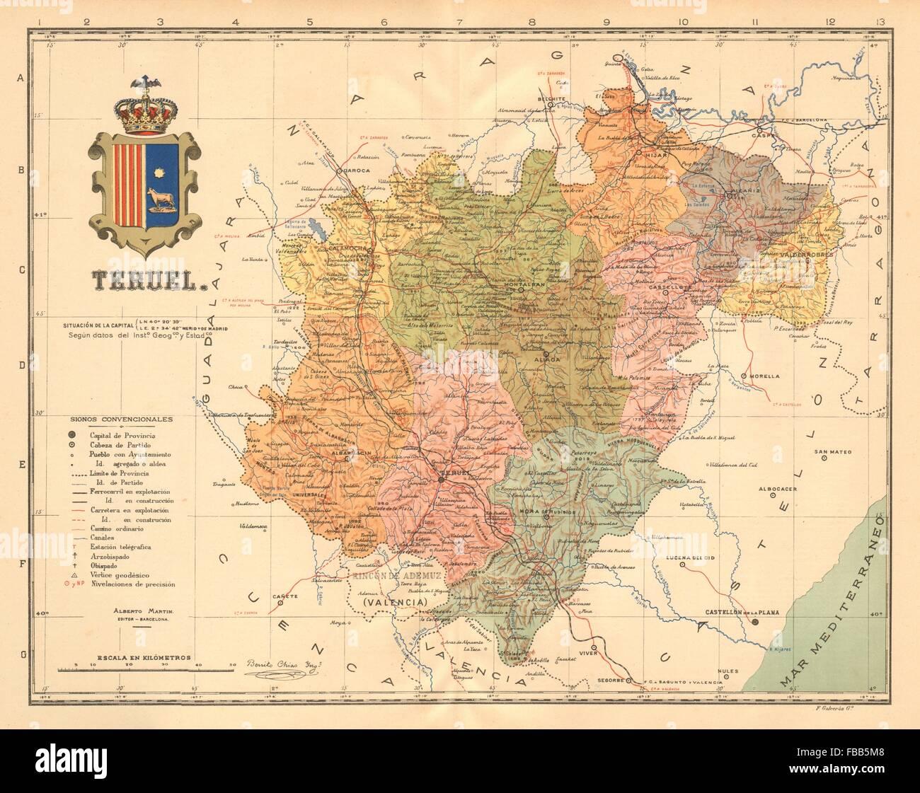 Mapa De Teruel Capital.Spain Mapa De La Provincia Stock Photos Spain Mapa De La