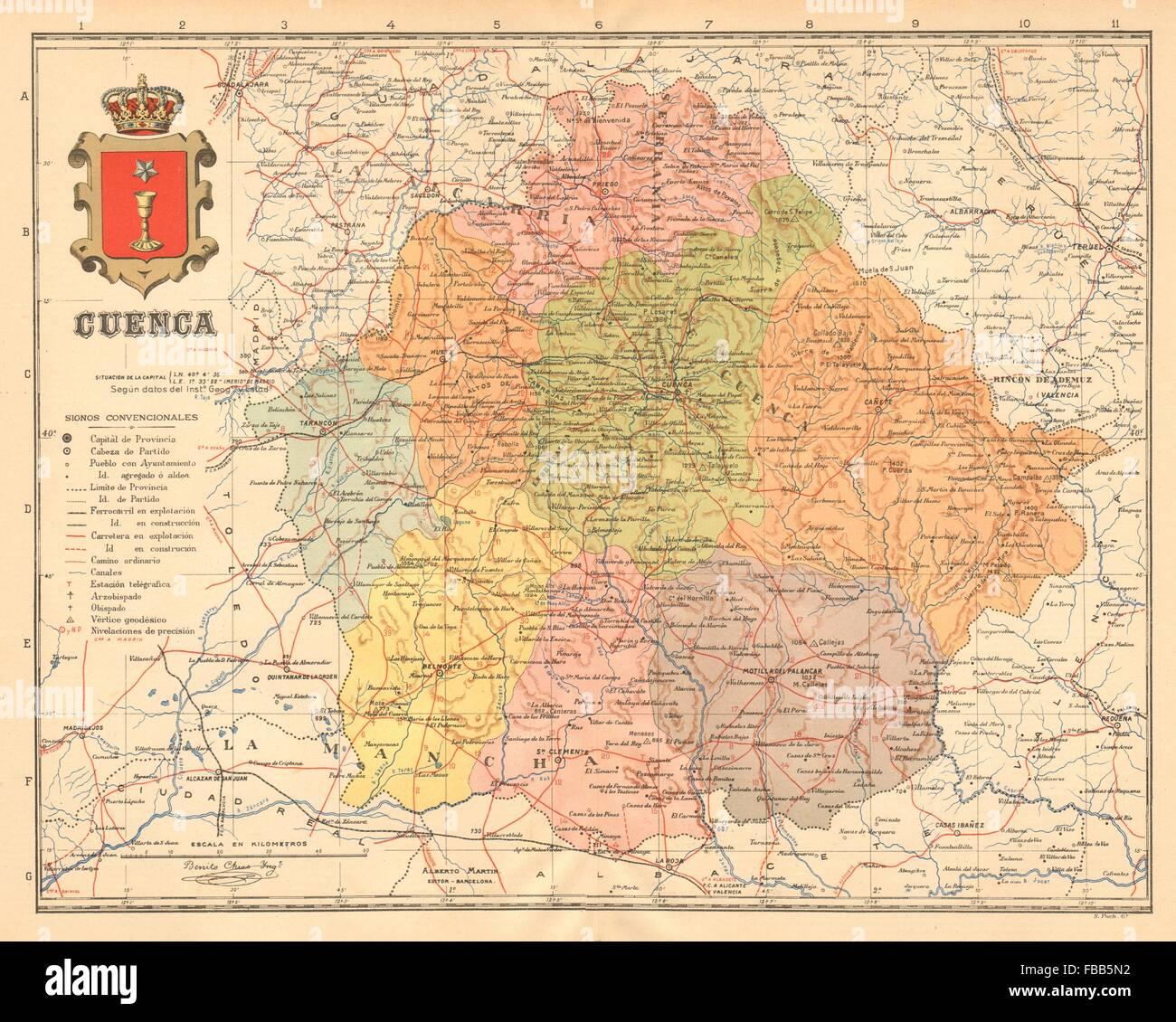 Mapa Provincia De Cuenca.Cuenca Castilla La Mancha Mapa Antiguo De La Provincia Alberto Stock Photo Alamy