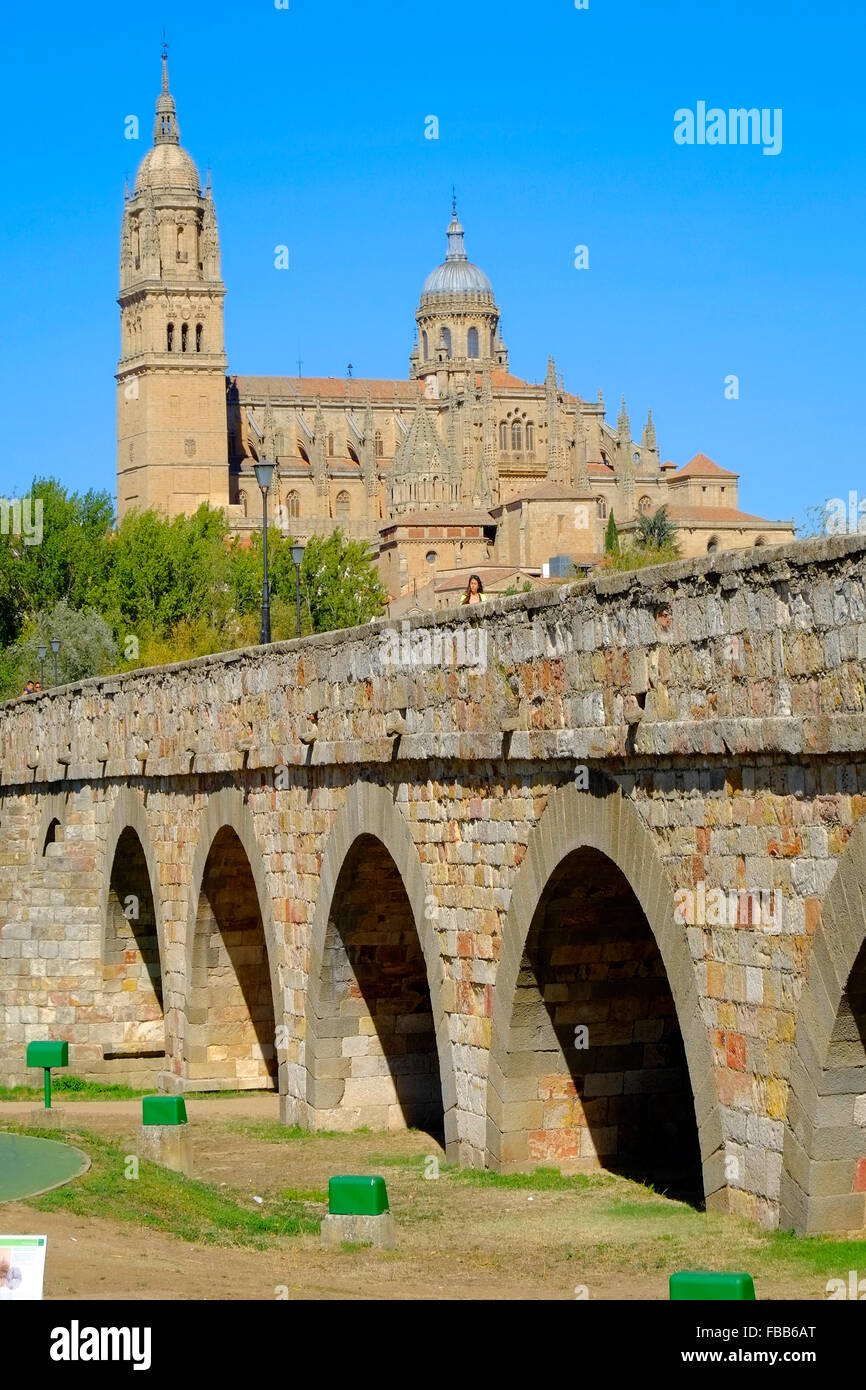 Roman Bridge Cathedral Salamanca Spain Castile Leon ES - Stock Image