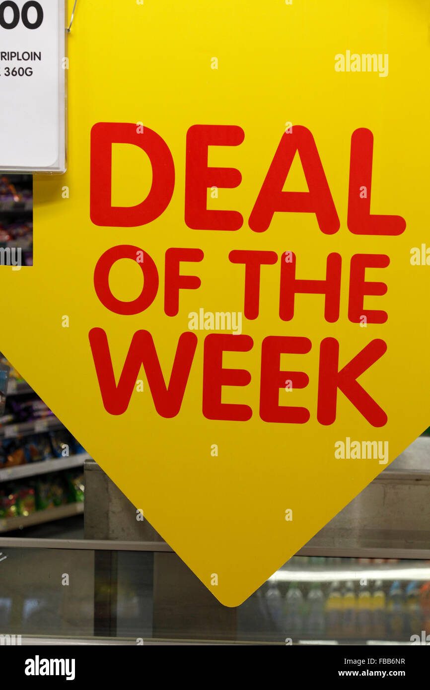 deal of the week sign in a supermarket - Stock Image