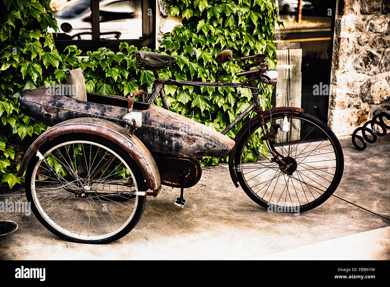 Close Up View of a Classic Bicycle with a Side Car, Yountville, Napa Valley, California - Stock Image