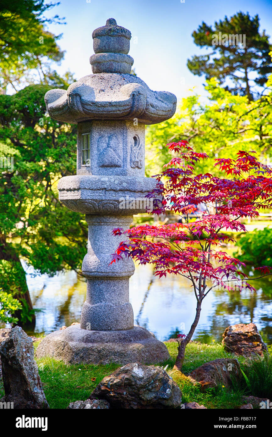 Close Up View Of A Stone Lantern In A Japanese Garden Japanese Tea Stock Photo Alamy