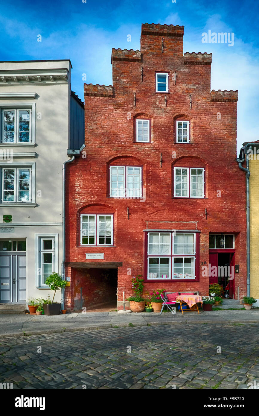 Low Angle View of a Classic Hanseatik Brick Gabled House, Lubeck, Schleswig-Holstein, Germany - Stock Image