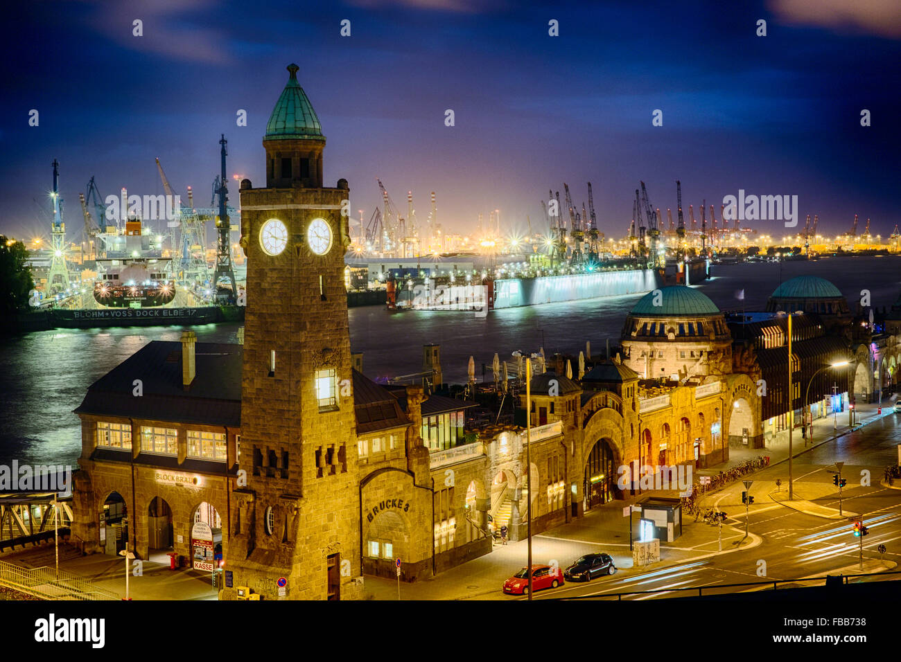 High Angle View of The Port Of Hamburg at Pier 3 at Night, St Pauli, Hamburg, Germany - Stock Image