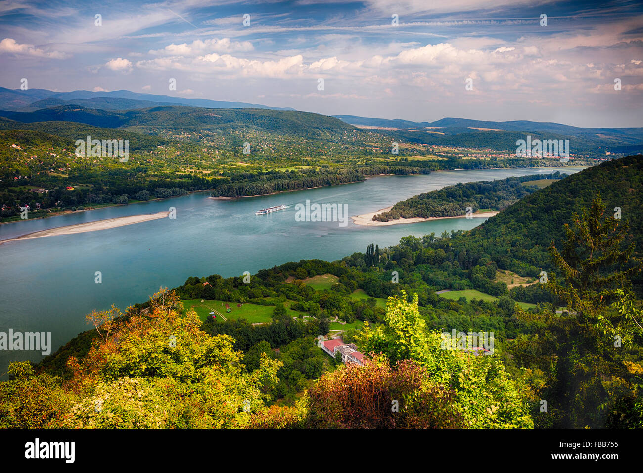 High Angle View of the Danube River with Islands and a Cruise Ship, Visegrad, Pest County, Hungary - Stock Image