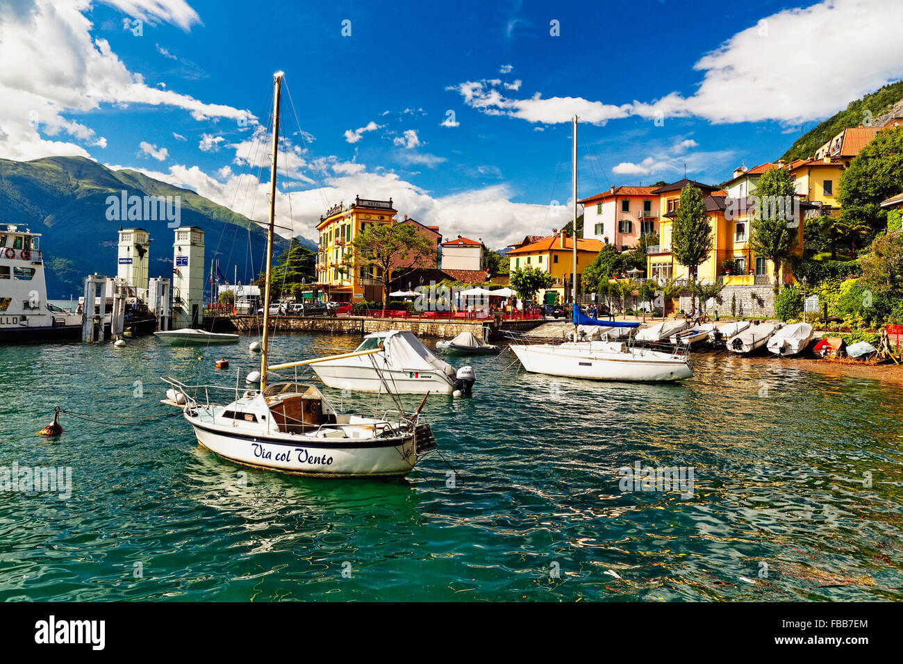 Low Angle View of the Varenna Harbor on Lake Como, Lombardy, Italy - Stock Image