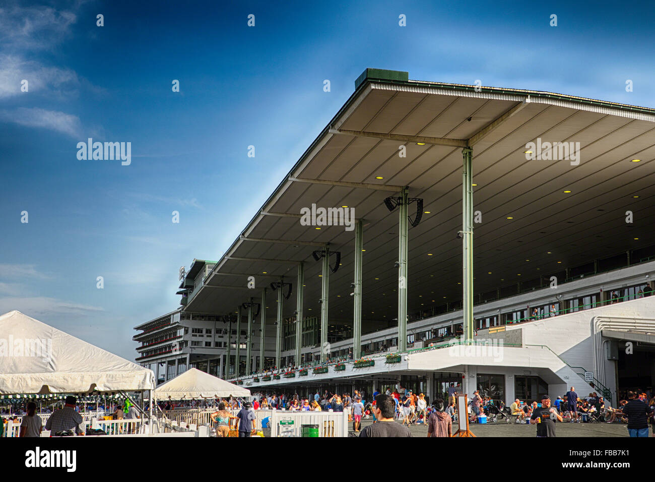 Low Angle View of the Grandstand Pavilion on the Monmouth Park Race Track Oceanport, New Jersey Stock Photo