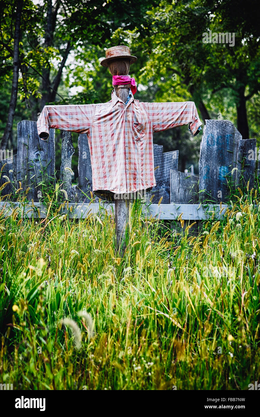 Low Angle View of Scarecrow in a Garden, Waterloo Village, Stanhope,  New Jersey - Stock Image
