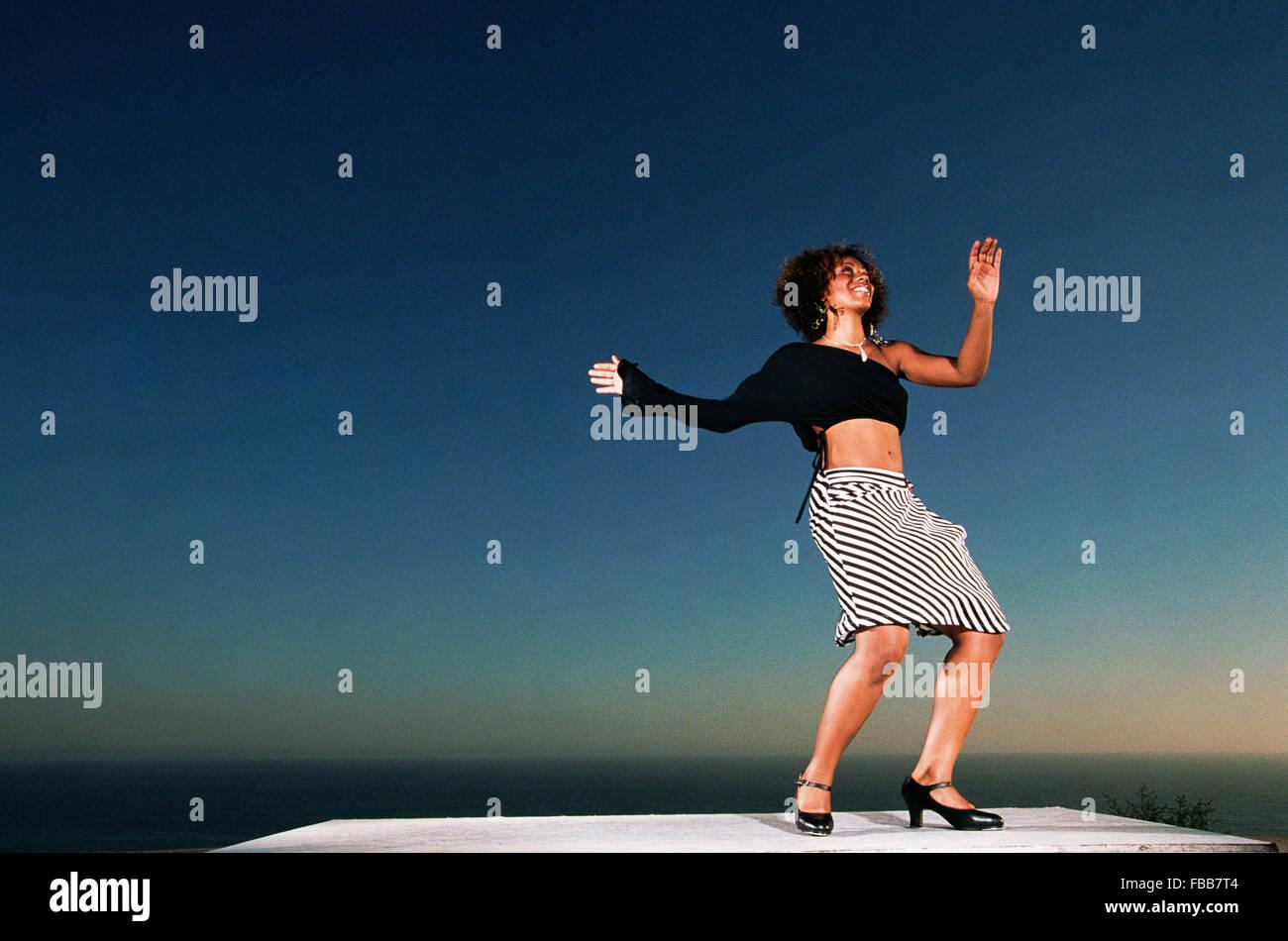 LOS ANGELES, CA – AUGUST 28: Alexandria Bradley tap dancing in Los Angeles, California on August 28, 2003. - Stock Image