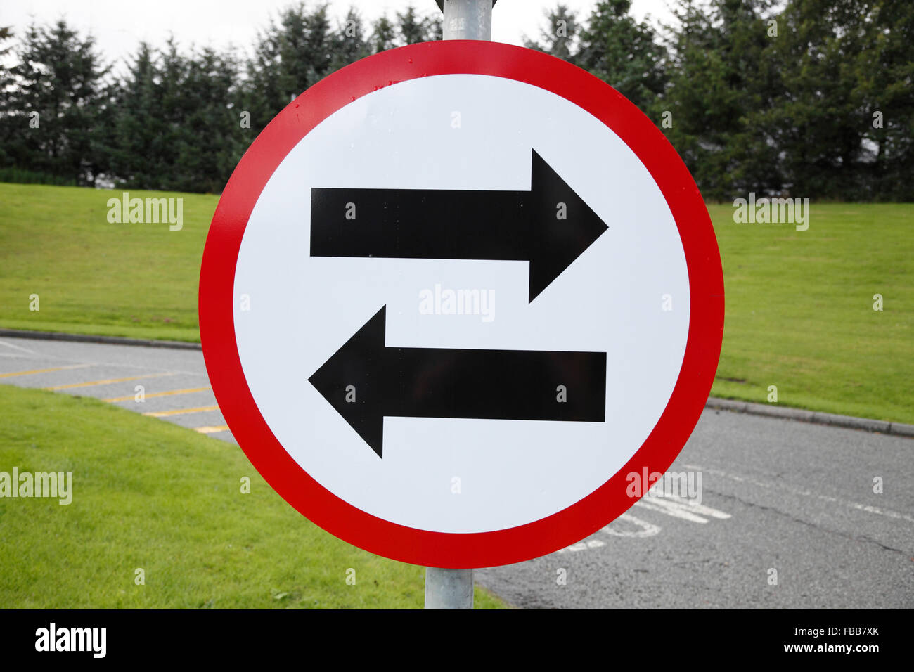 restricting the driving direction to left and right to prevent motorists driving against the traffic on motorways - Stock Image