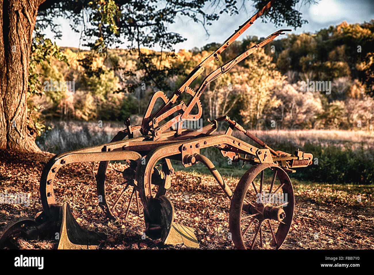 Close Up View of a Rusting Horse Drawn Hoe, Hunterdon County, New Jersey - Stock Image
