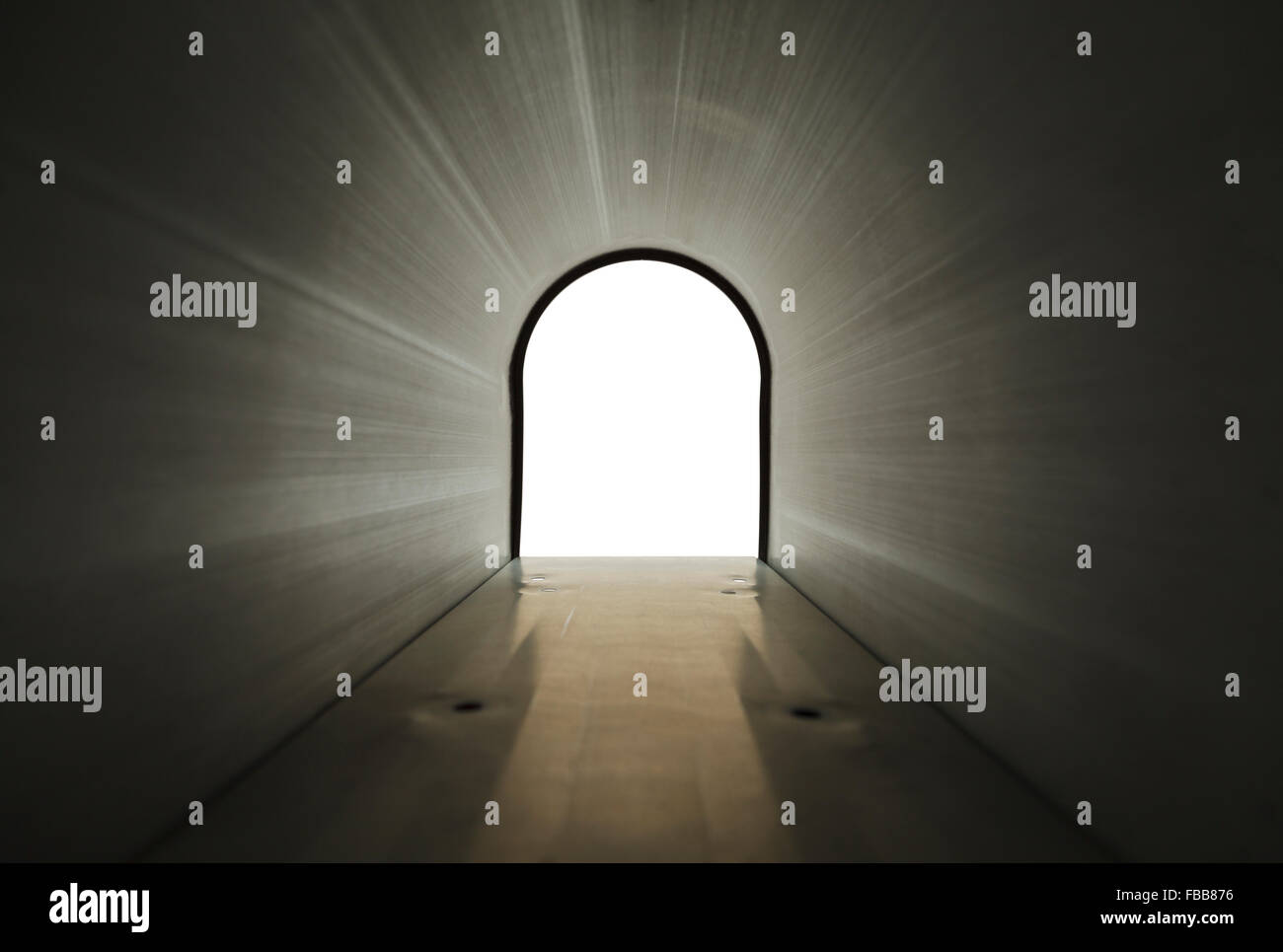 Inside Black Metal Mailbox Looking Out Isolated on White Background. - Stock Image