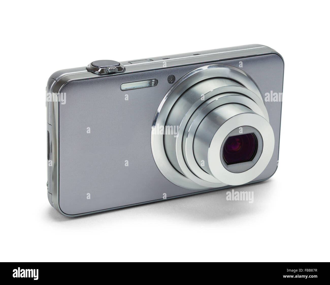 Point and Shoot Silver Camera Isolated on a White Background. - Stock Image