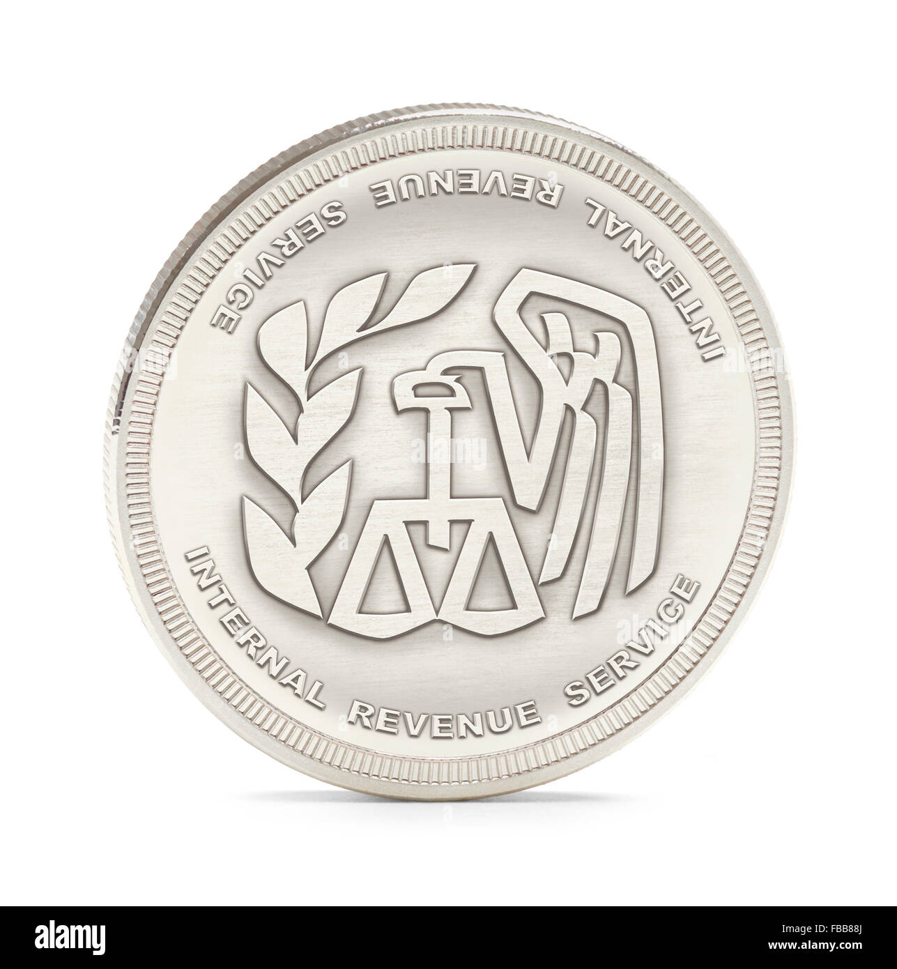 Internal Revenue Service Silver Coin Isolated on a White Background. - Stock Image