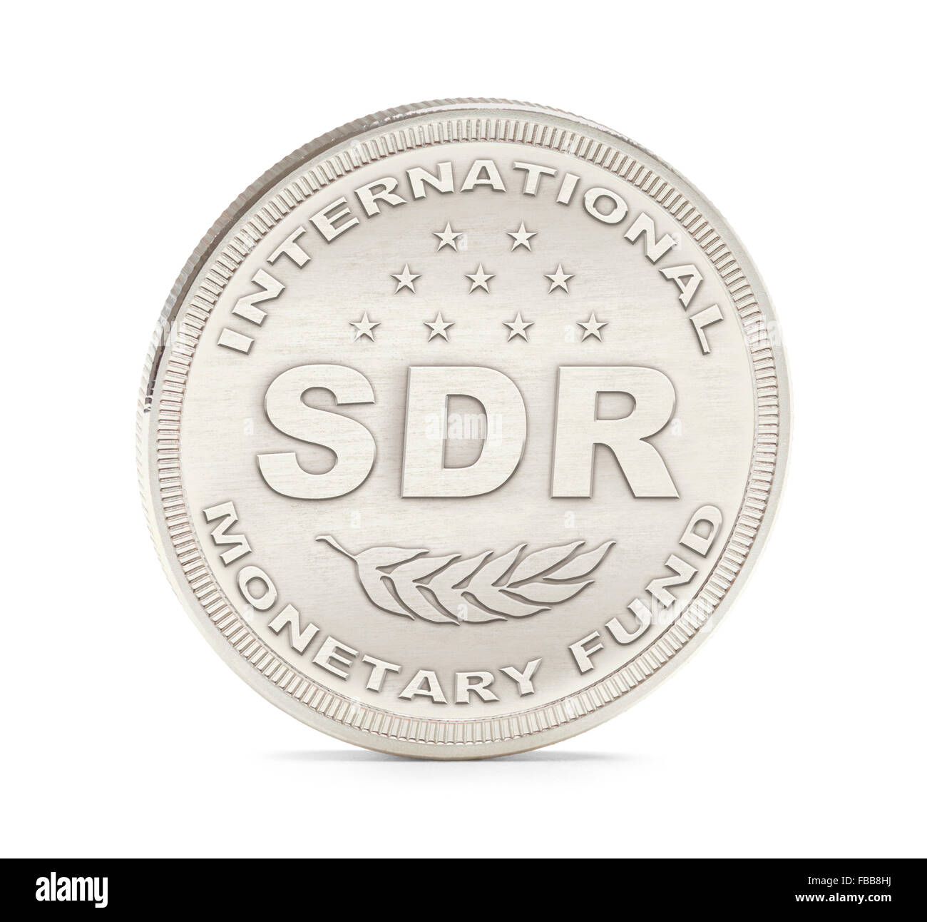 International Monetary Fund Special Drawing Rights Coin Isolated on White Background. - Stock Image