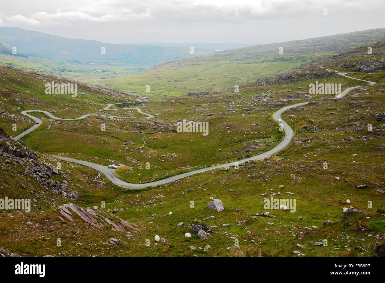 road to Healy Pass on peninsula Beara, Co. Kerry, Ireland - Stock Image