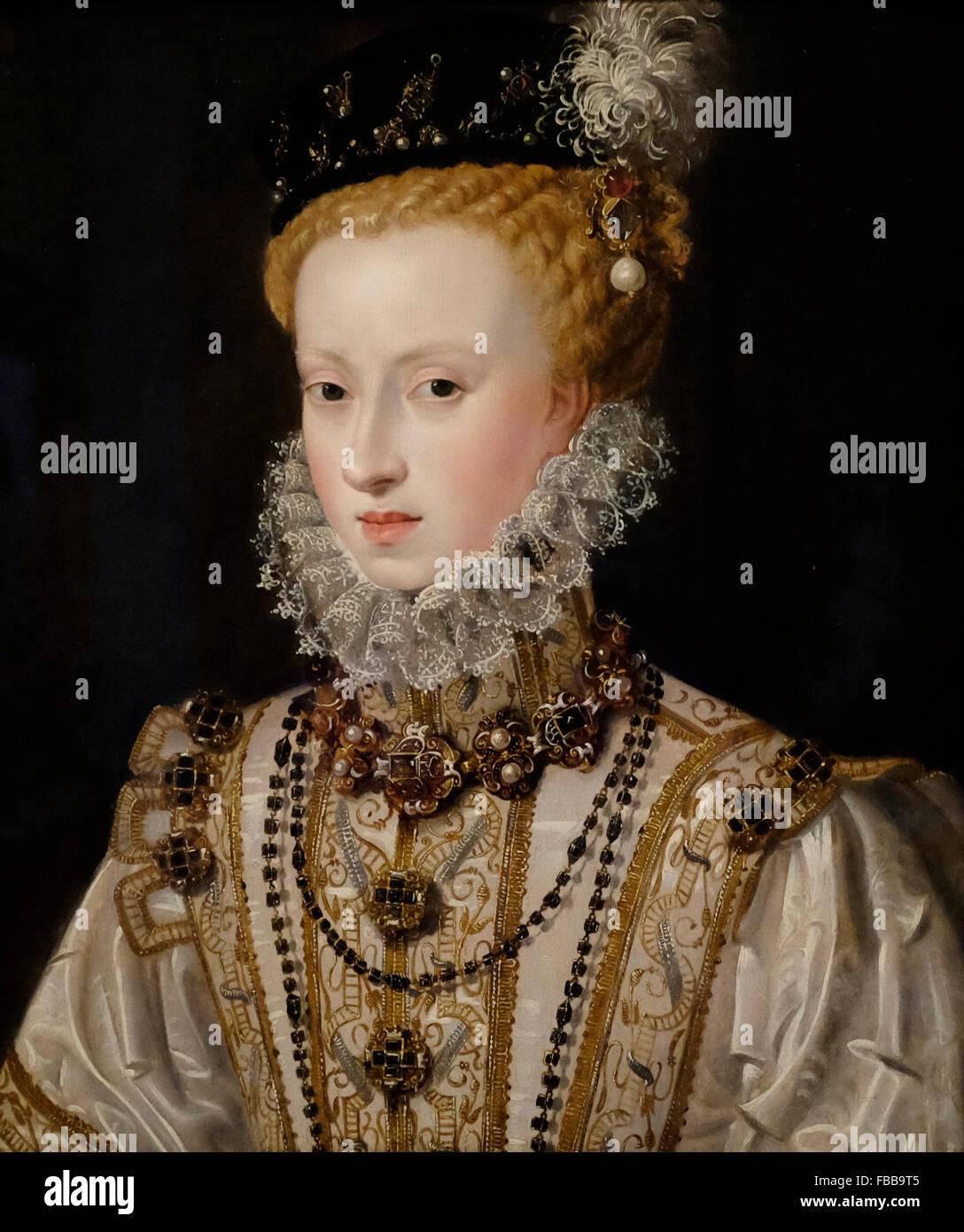 Anne of Austria - attributed to Alonso Sanchez Coello - circa 1578 - Stock Image