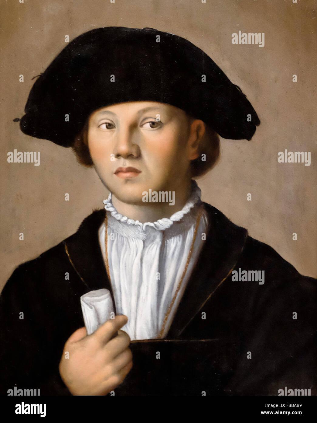 Portrait of a Young Man - Jan van Scorel - circa 1523 - Stock Image