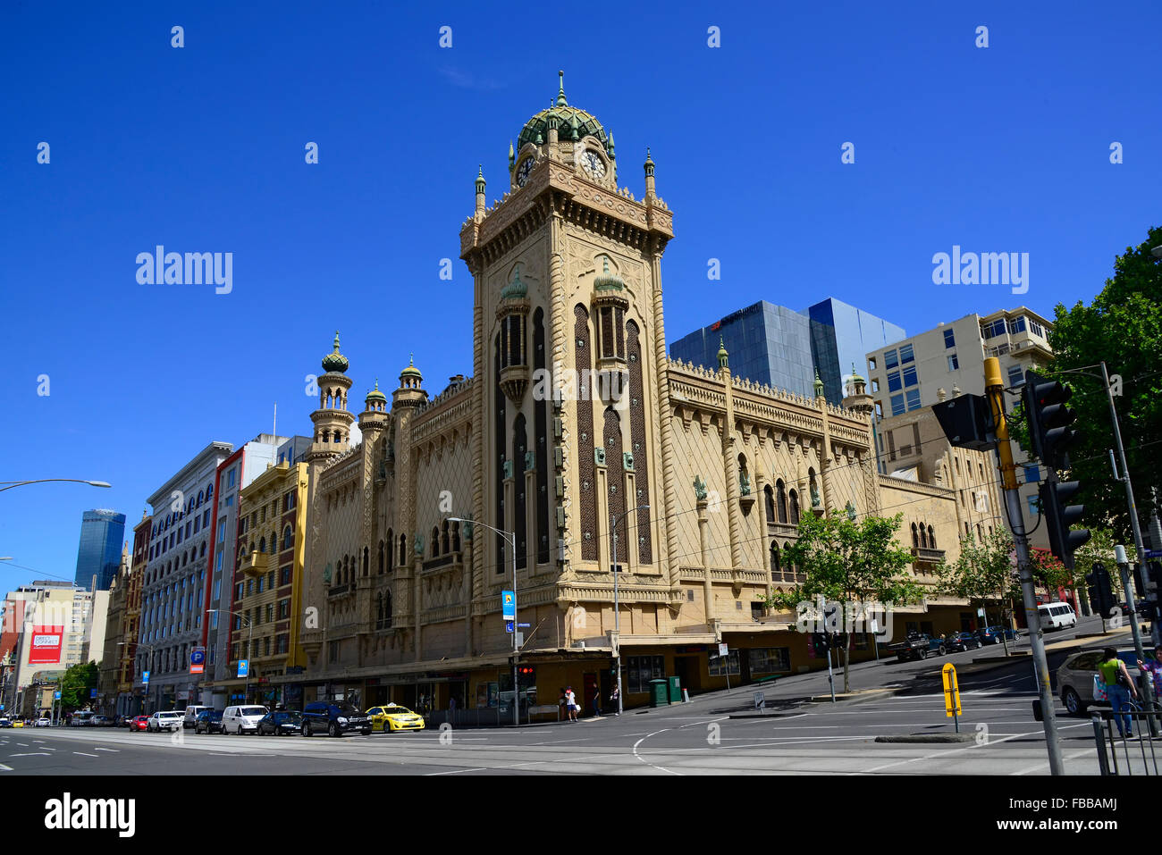 Flinders Street Melbourne Australia Victoria Coastal Capital - Stock Image